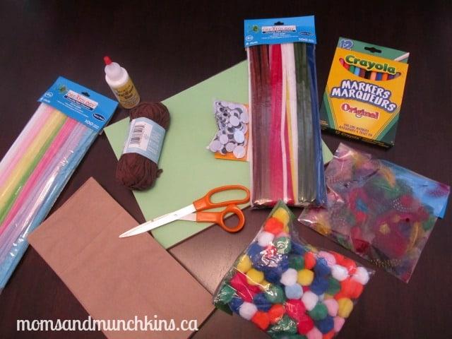 Paper Bag Puppet Crafts - Supplies