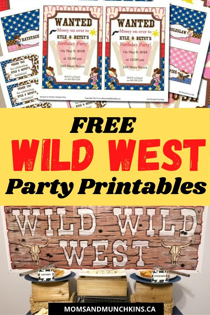 Free Wild West Party Printables