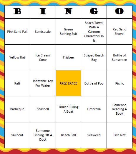 Beach Bingo Free Printable