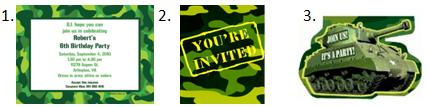Camo Birthday Party Invitations