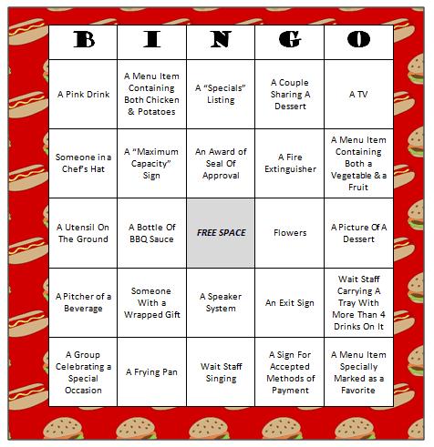 Restaurant Bingo Free Printable Game Moms Amp Munchkins