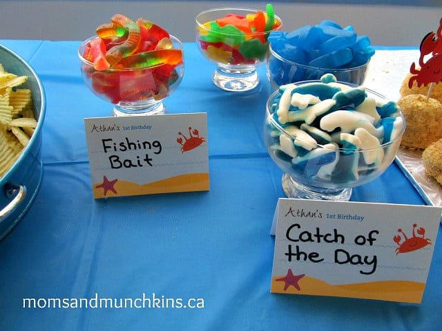 First birthday party under the sea moms munchkins for Fishing first birthday