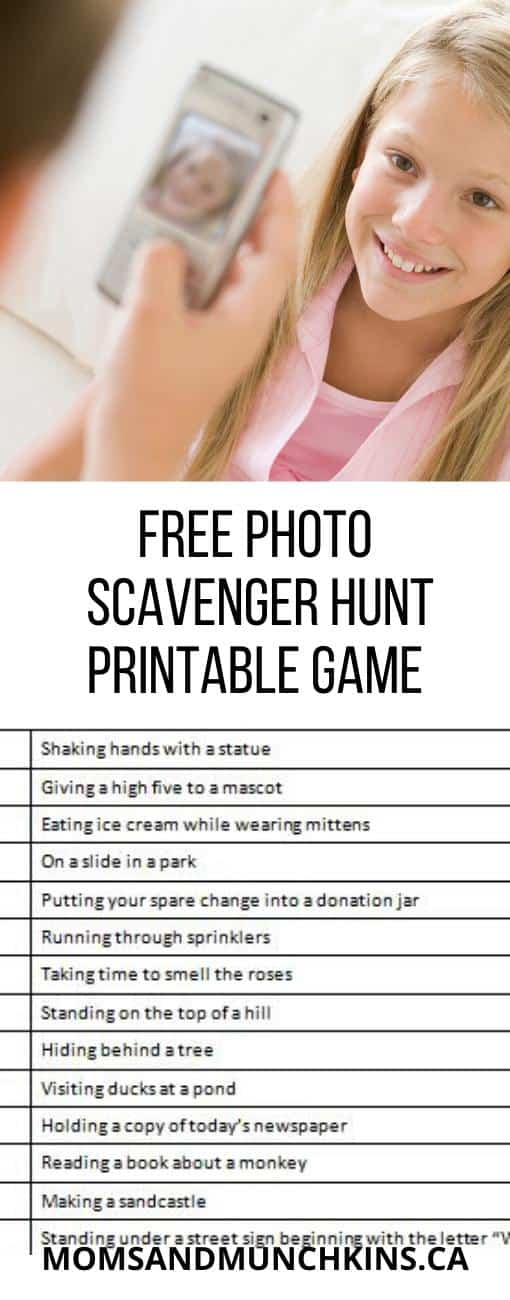 Free Photo Scavenger Hunt Printable Game