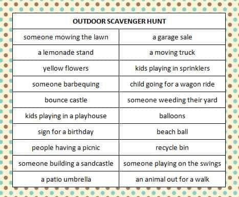 Outdoor Scavenger Hunt - free printable