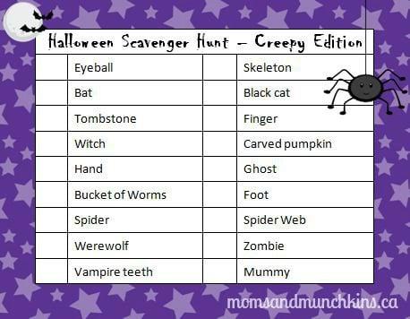 Halloween Scavenger Hunt Creepy