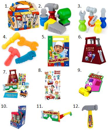 Handy Manny Birthday Favors
