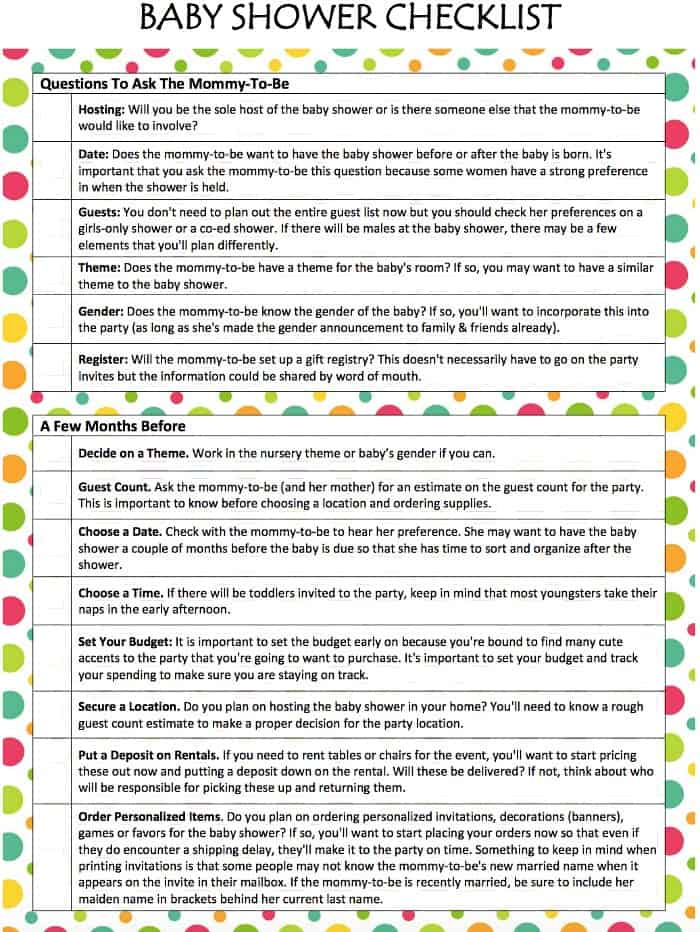 Baby shower checklist free printable moms munchkins for Baby shower decoration checklist