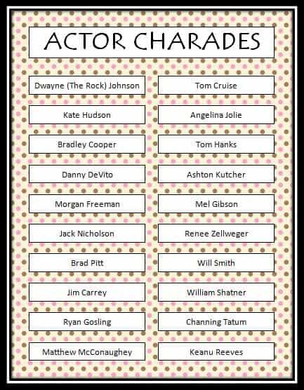 Actor charades free printable game moms munchkins