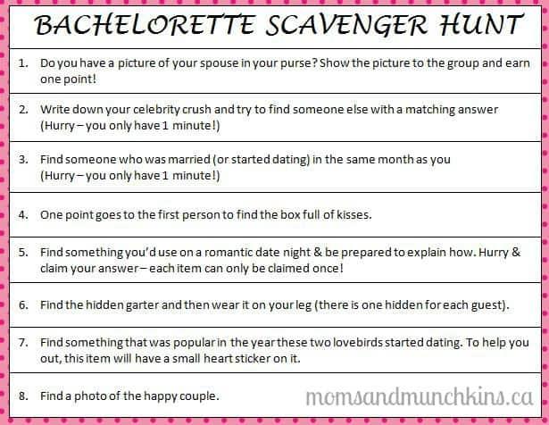 Bachelorette Scavenger Hunt Moms Amp Munchkins