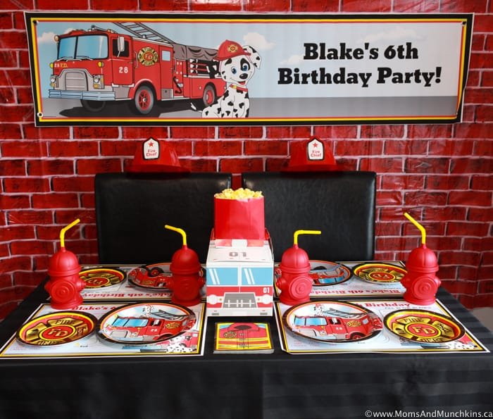 Fireman Birthday Party Table