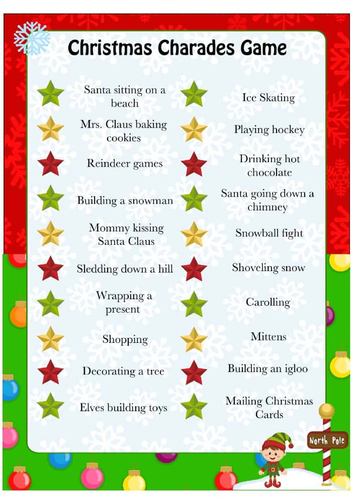 Christmas Charades - Free Printable Game For Kids