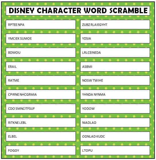 Disney Word Scramble