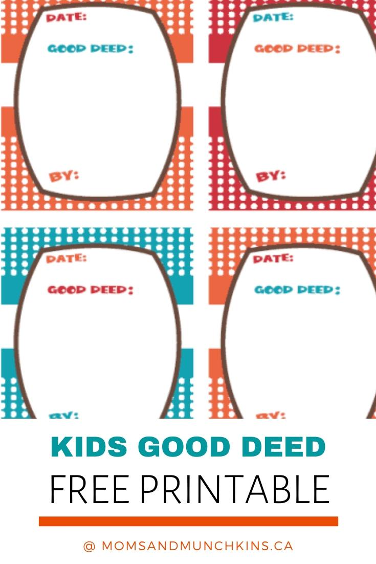 Kids good deeds Printable