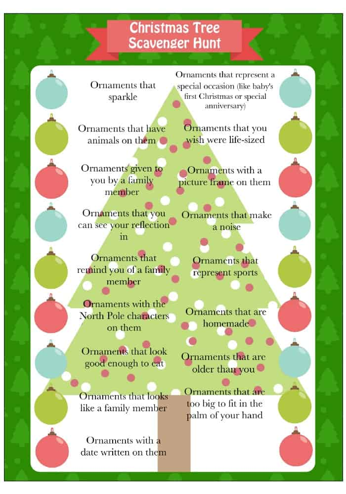 Christmas Tree Scavenger Hunt Game - Free Printable
