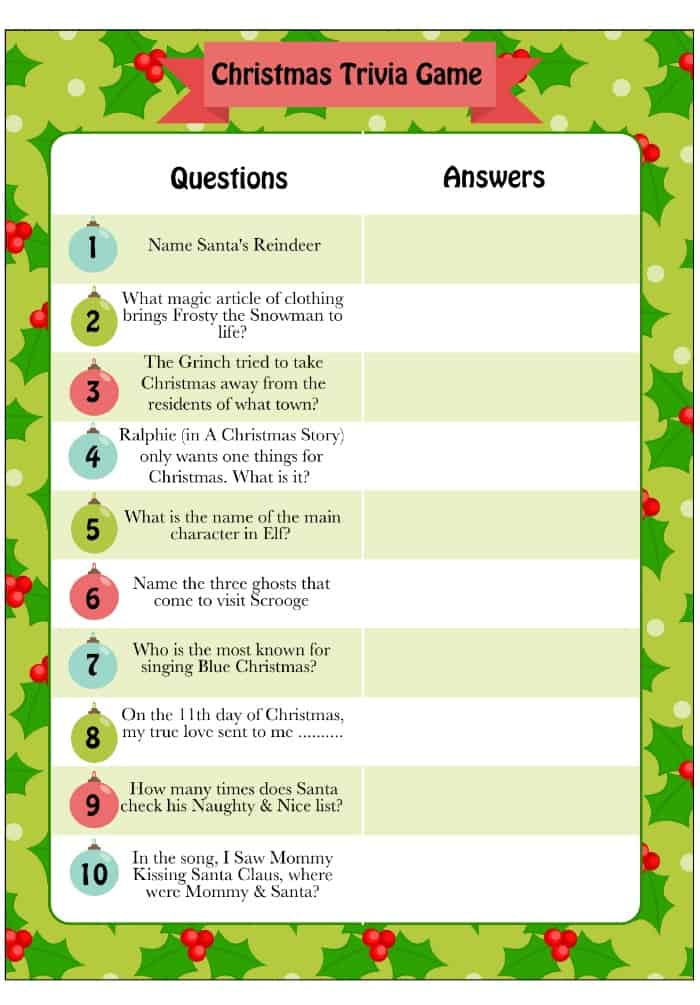 Christmas Trivia Game - Free Printable Holiday Game