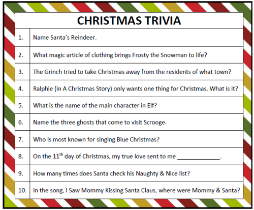 Luscious image inside printable christmas trivia games