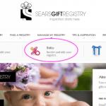 Sears Babys Registry - Online