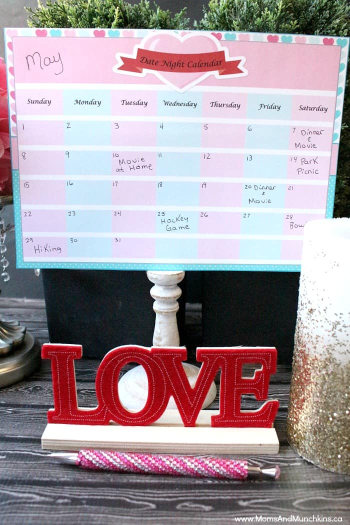Date Night Calendar Free Printable - Make Time For a Date Night