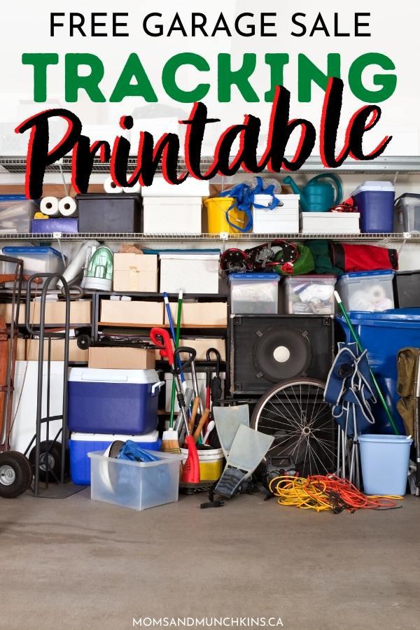 Free Garage Sale Tracking Printable