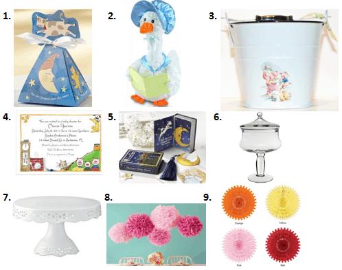 nursery rhyme baby shower accessories