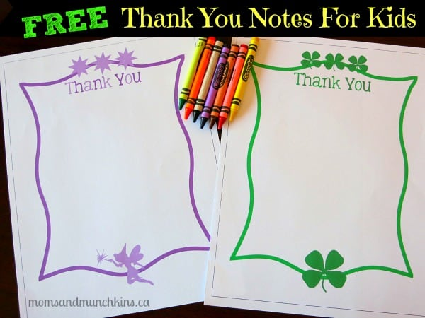 free thank you notes for kids