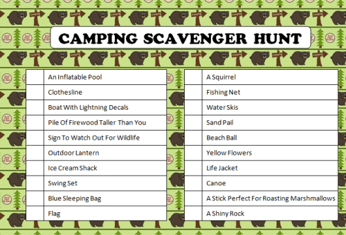 Camping Scavenger Hunt Free Printable