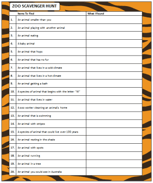 photograph relating to Zoo Scavenger Hunt Printable titled Zoo Scavenger Hunt (cost-free printable match) - Mothers Munchkins