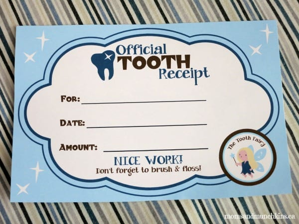 Tooth Fairy Ideas Receipt