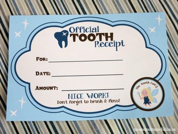 tooth fairy ideas receipt