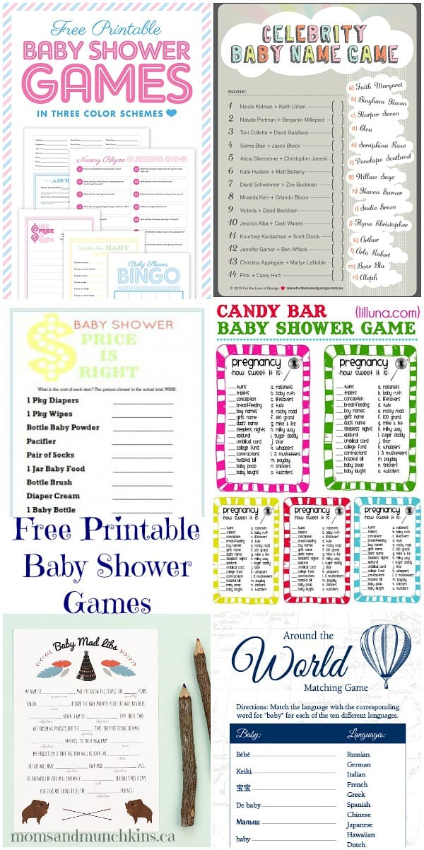 image relating to Spanish Baby Shower Games Free Printable named Free of charge Printable Youngster Shower Online games - Mothers Munchkins