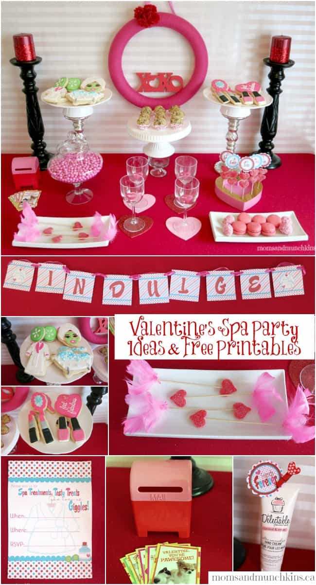 Valentine Party Printables with a Spa Theme! Moms & Munchkins