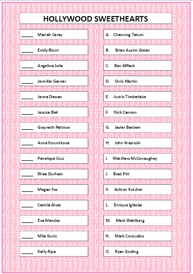 Hollywood Sweethearts Matching Game