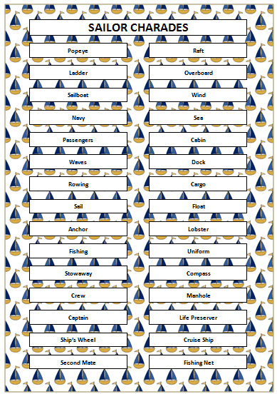 Sailor Parties - Free Printable Charades Game - Moms & Munchkins