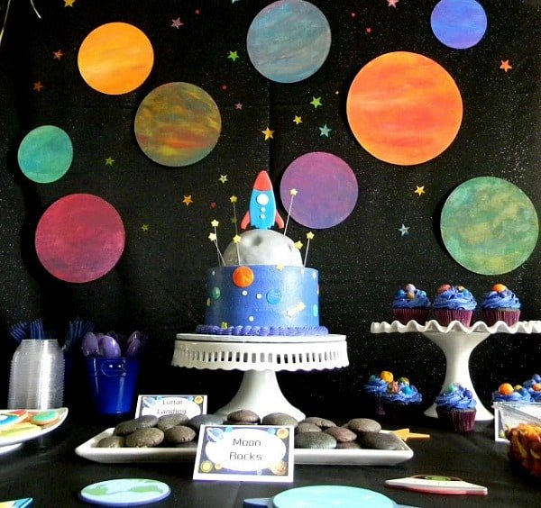 Space birthday party ideas moms munchkins for Backdrop decoration for birthday