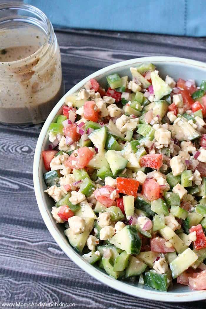 Greek Salad Recipe With Creamy Dressing - Moms U0026 Munchkins