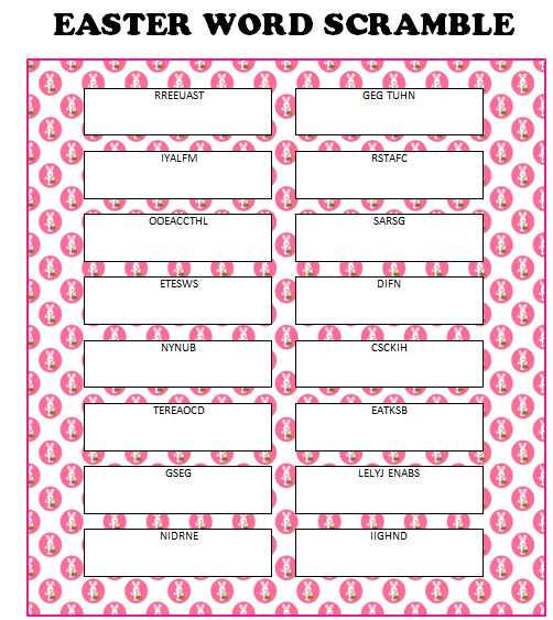 Easter Word Scramble Free Printable Moms Munchkins