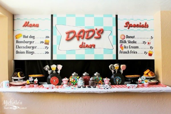 Retro diner party for father 39 s day moms munchkins for 1950s party decoration ideas