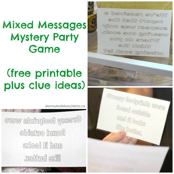 Mystery Party Game Mixed Messages Free Printable