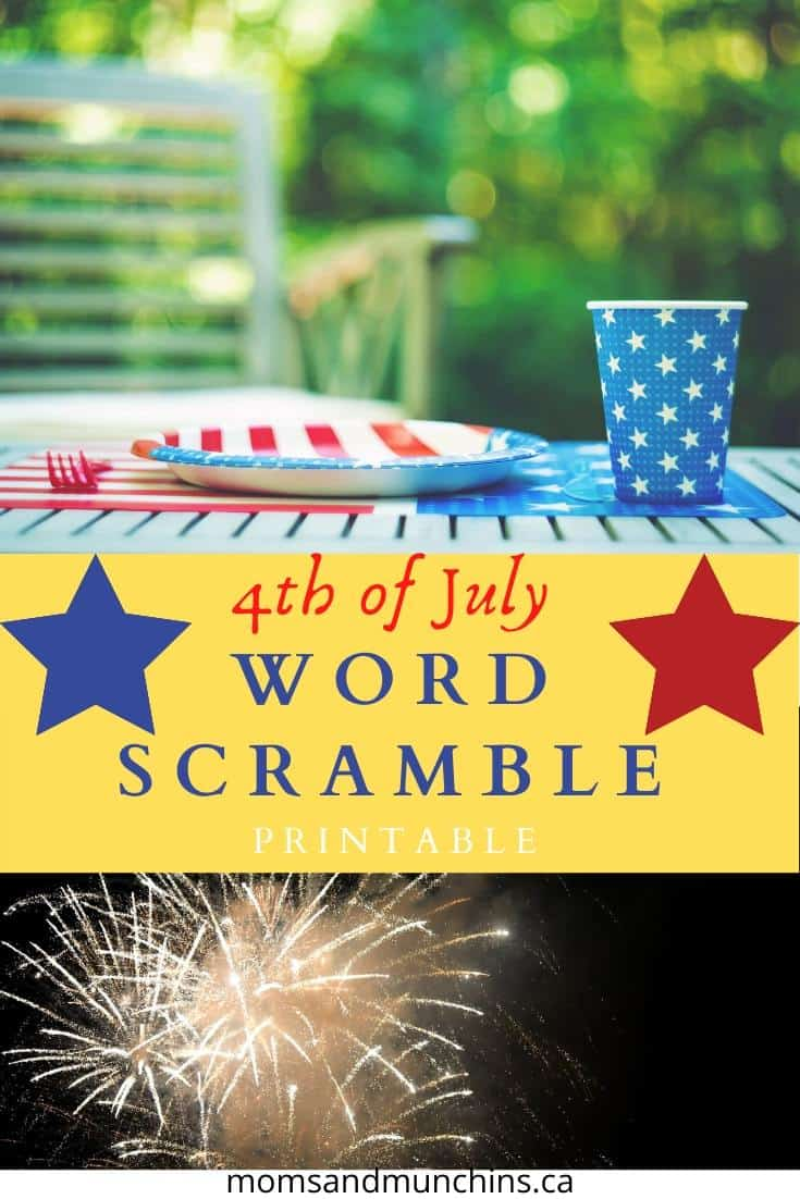 4th of july word scramble game