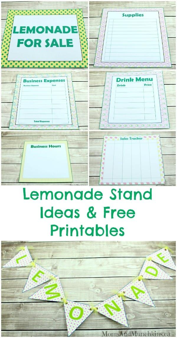 Lemonade Stand Ideas & Free Printables - Moms & Munchkins