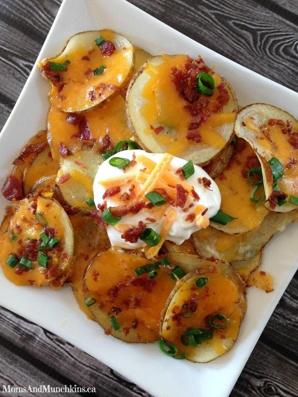 Loaded Baked Potato Nachos - Moms & Munchkins