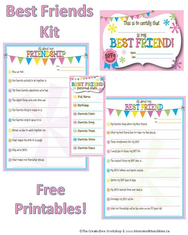 Friendship Worksheets Bff Printables Moms Munchkins