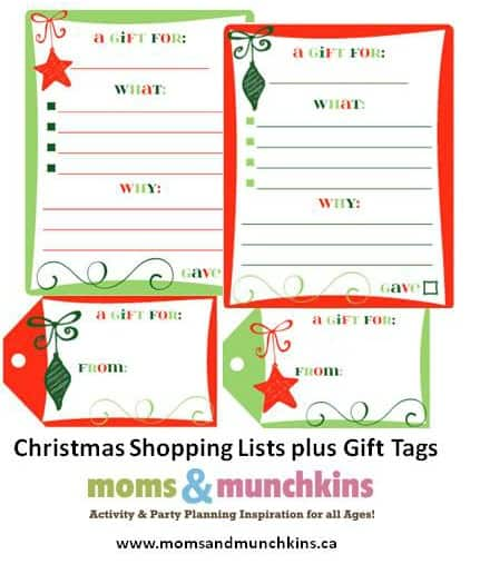 Christmas Shopping Lists & Gift Tags