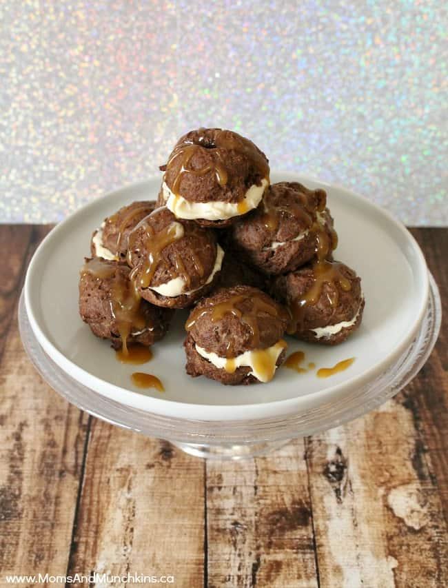 Chocolate Cream Puffs with Caramel Buttercream