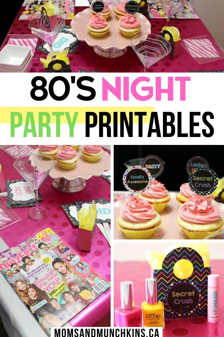 80s Night Party Printables