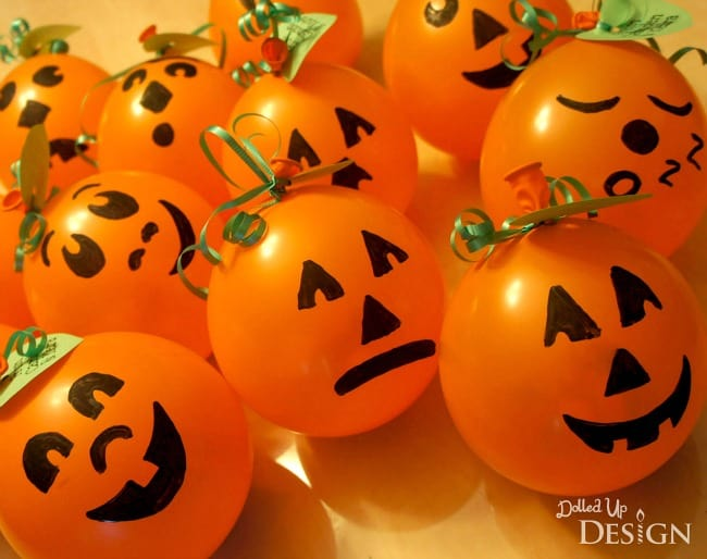 Treat Filled Pumpkin Balloons