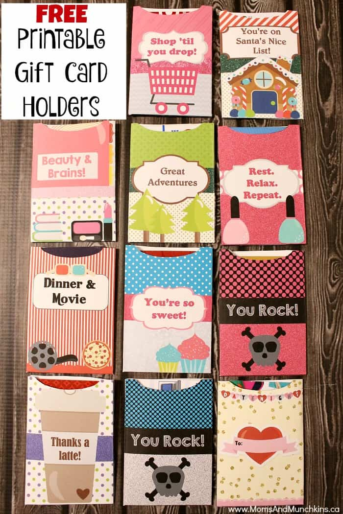 Free Printable Gift Card Holders  Moms  Munchkins
