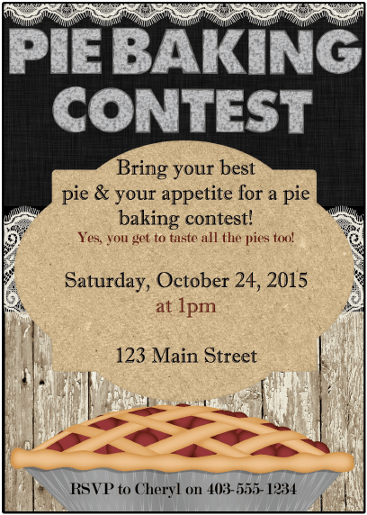 Pie Baking Contest Printables