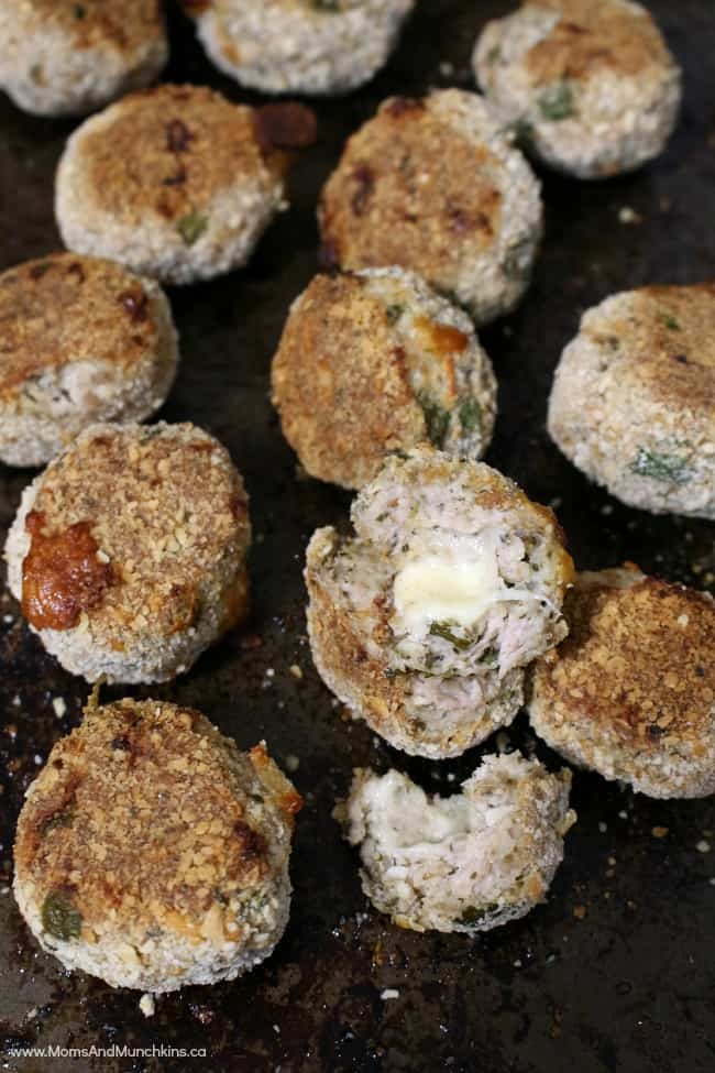 Cheese Stuffed Chicken Meatballs