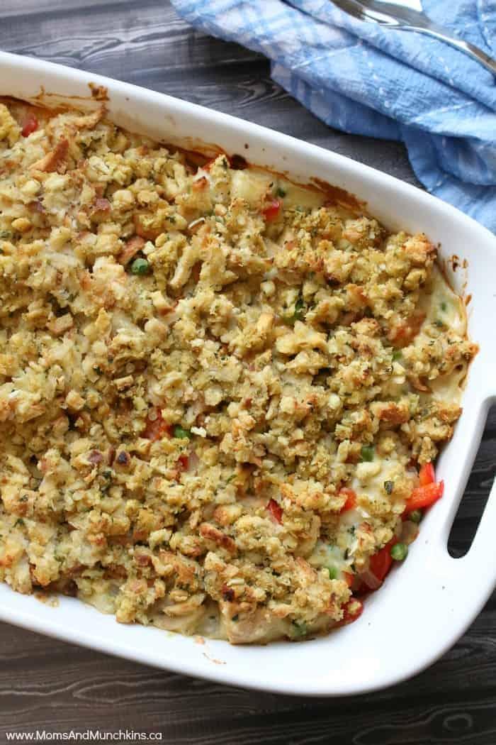 Chicken Pot Pie With Stuffing Crust Moms Amp Munchkins